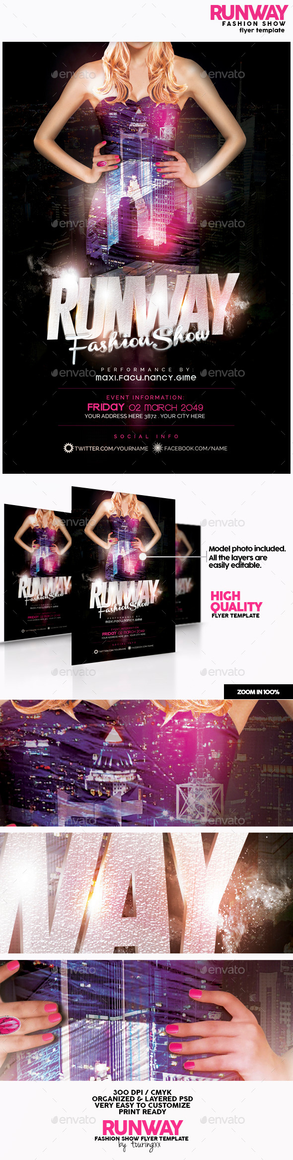 runway fashion show flyer template by touringxx graphicriver. Black Bedroom Furniture Sets. Home Design Ideas