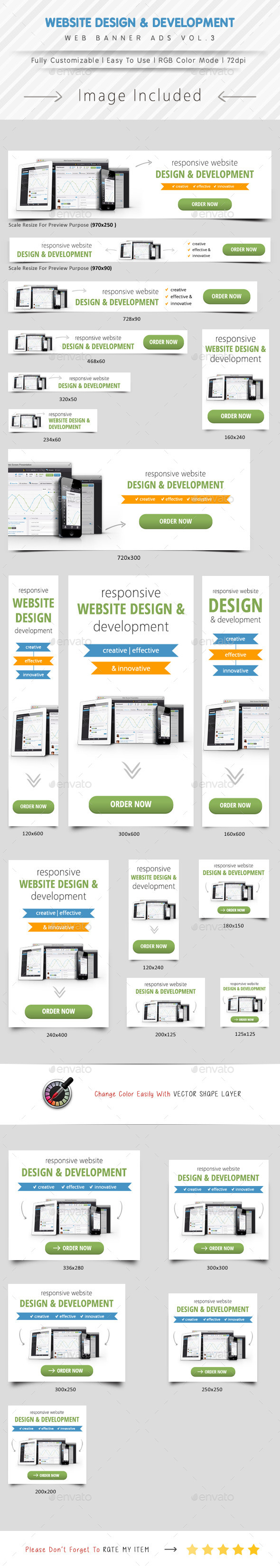 Website Design & Development Banner Ads Vol.3 - Banners & Ads Web Elements