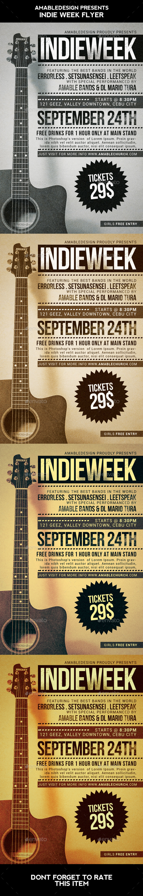 Indie Week Flyer - Concerts Events