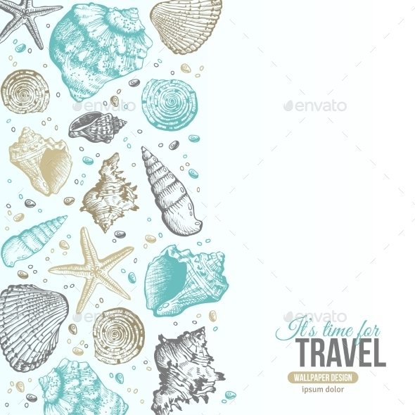 Summer Sea Shells Postcard Design  - Organic Objects Objects