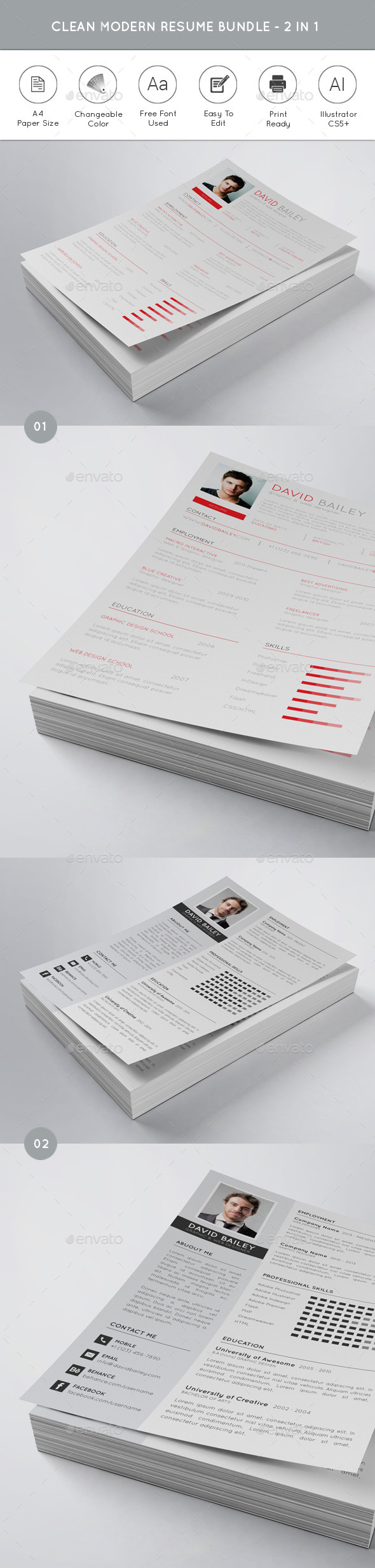 Clean Modern Resume Bundle 2 in 1