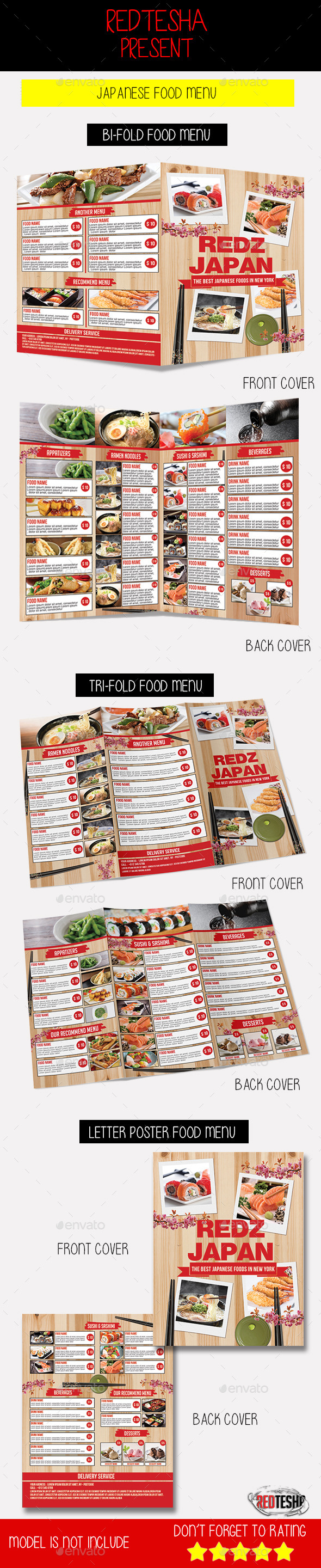 Japanese Food Menu - Food Menus Print Templates