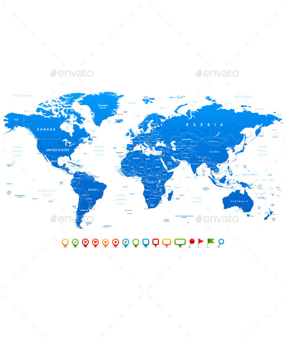 Blue World Map and Navigation Icons - Travel Conceptual