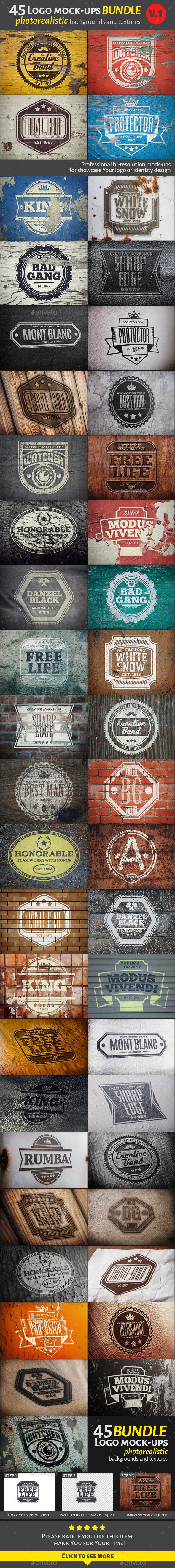 45 Vintage Logo Mock-Ups. Bundle v.1   - Logo Product Mock-Ups