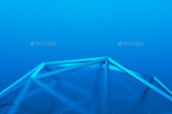Abstract 3D Rendering Of Low Poly Blue Shape - 3D Backgrounds