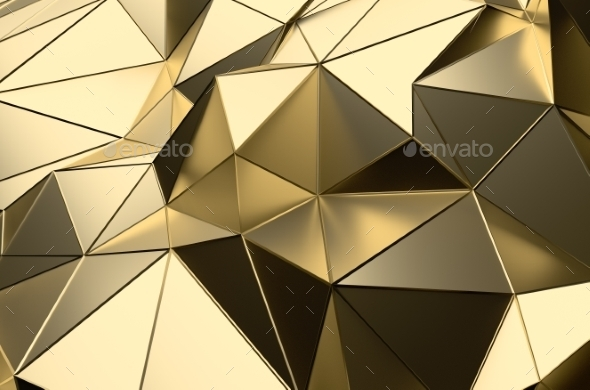 Abstract 3D Rendering Of Gold Low Poly Surface - Abstract 3D Renders