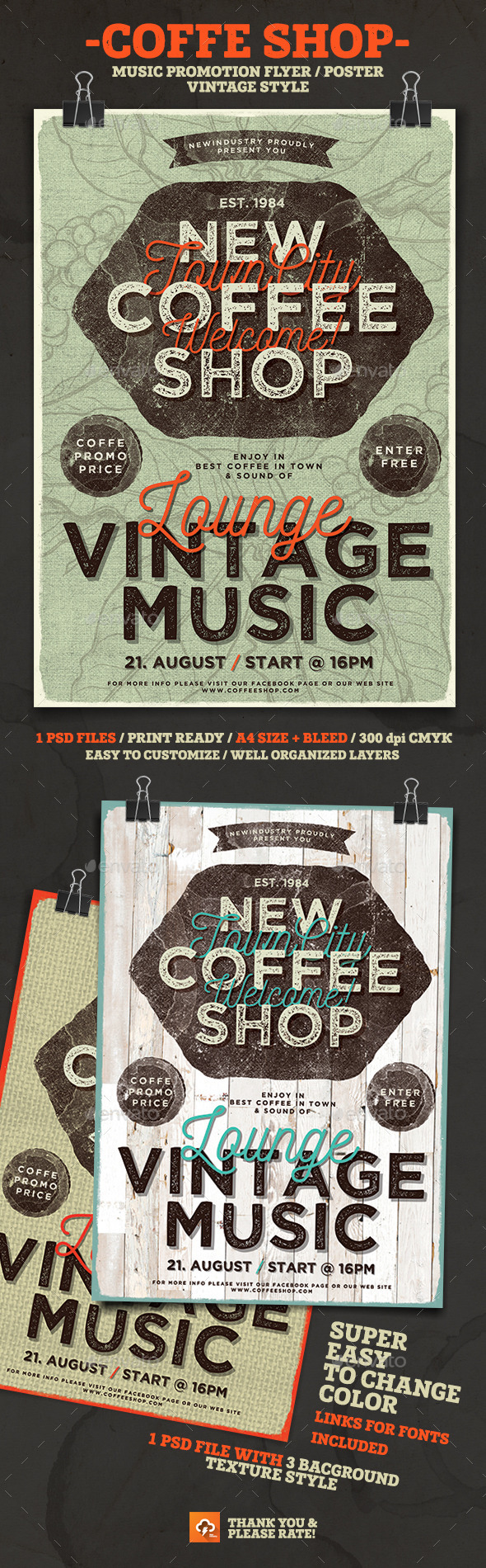 Coffee Shop Lounge Music - Events Flyers