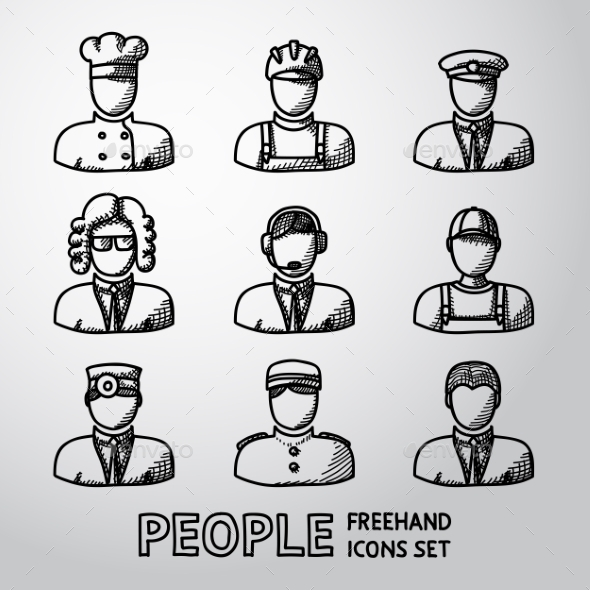 Set Of Hand Drawn People Faces - People Characters
