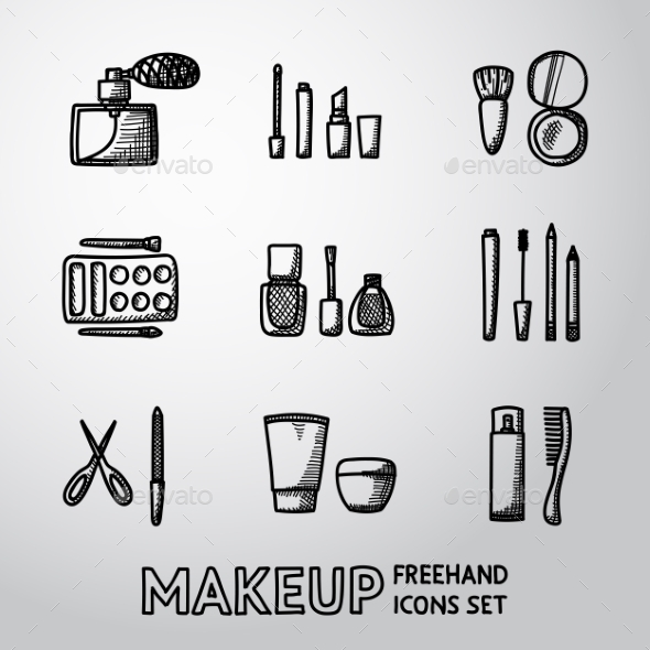 Set Of Makeup Freehand Icons Vector