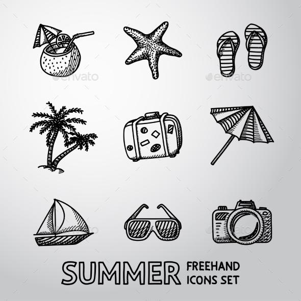 Summer Holidays Monochrome Freehand Icons Set - Seasonal Icons