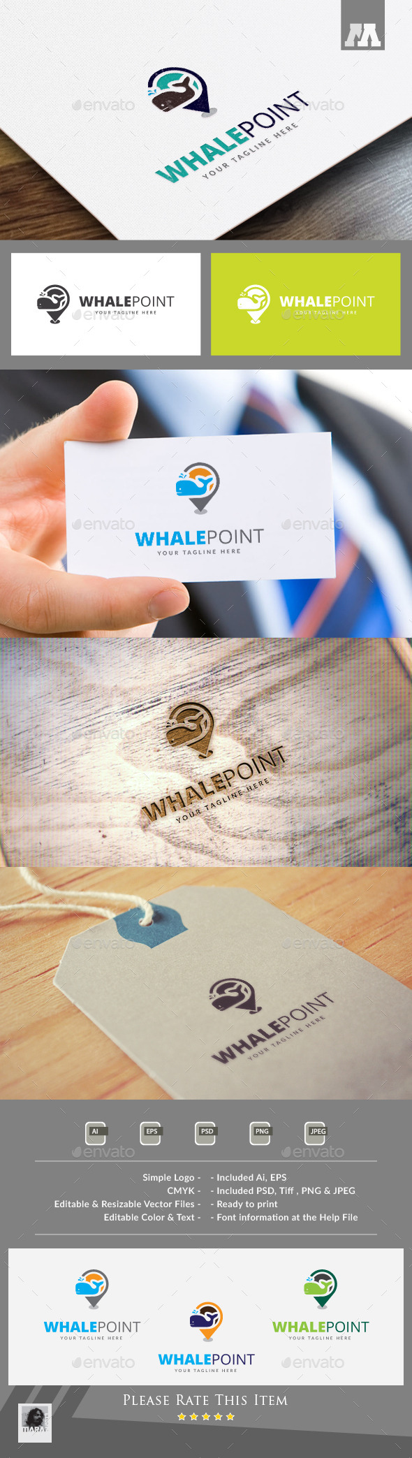 Whale Point Logo Template - Animals Logo Templates