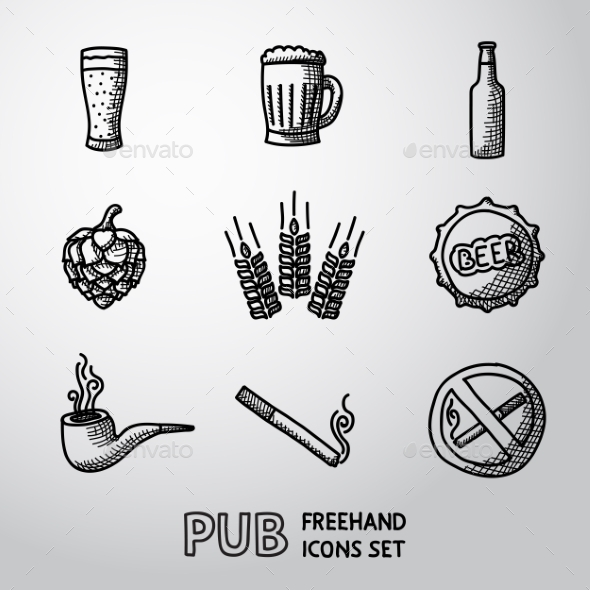 Pub, Beer Handdrawn Icons Set. Vector - Food Objects