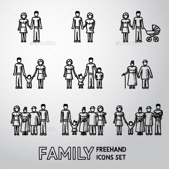 Multigenerational Family Freehand Icons Set