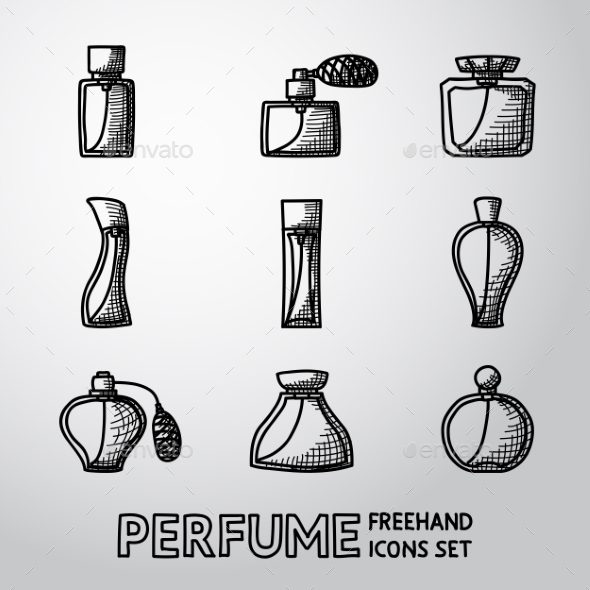 Perfume Handdrawn Icons Set With Different Shapes - Icons