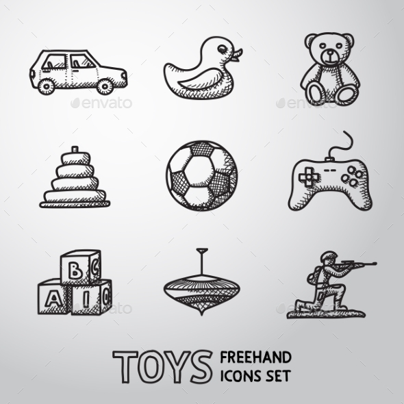 Toys Hand Drawn Icons Set With - Car, Duck, Bear - Icons