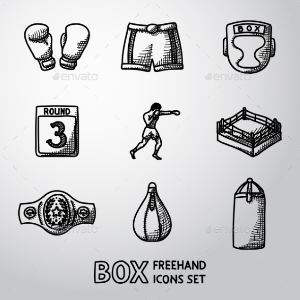 Set Of Boxing Hand Drawn Icons - Gloves, Shorts - Icons