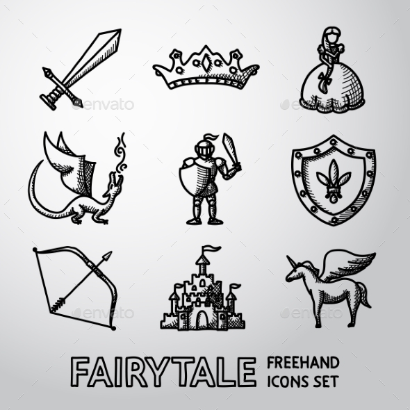 Set Of Hand Drawn Fairytale, Game Icons. Vector - Icons