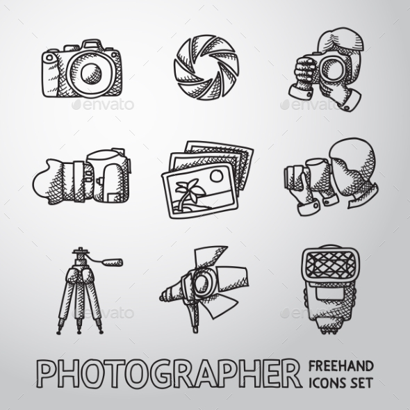 Photographer Freehand Icons Set With - Shutter - Icons