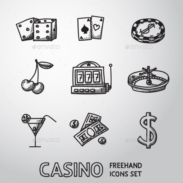 Casino, Gambling Freehand Icons Set. Vector - Icons
