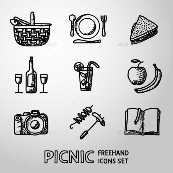 Set Of Handdrawn Picnic Icons. Vector - Food Objects