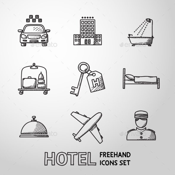 Hotel And Service Monochrome Freehand Icons Set - Icons