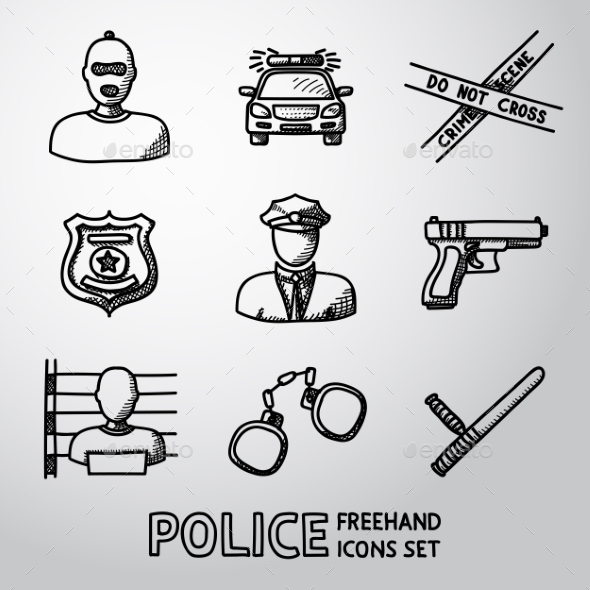 Set Of Police Freehand Icons. Vector - People Characters