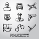Set Of Police Freehand Icons. Vector - GraphicRiver Item for Sale