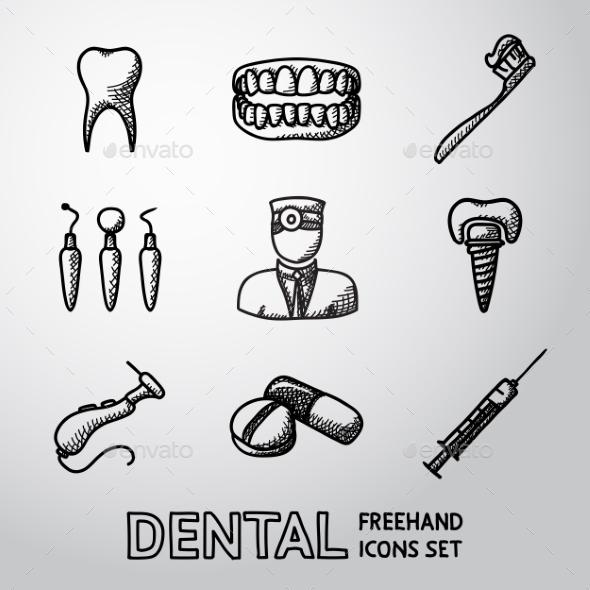Dental Handdrawn Icons Set. Vector - Icons