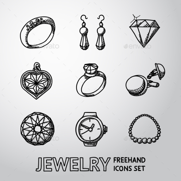 Jewelry Monochrome Freehand Icons Set With - Rings - Icons