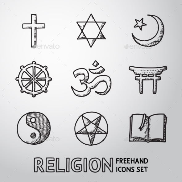 World Religion Hand Drawn Symbols Set. Vector - Miscellaneous Icons