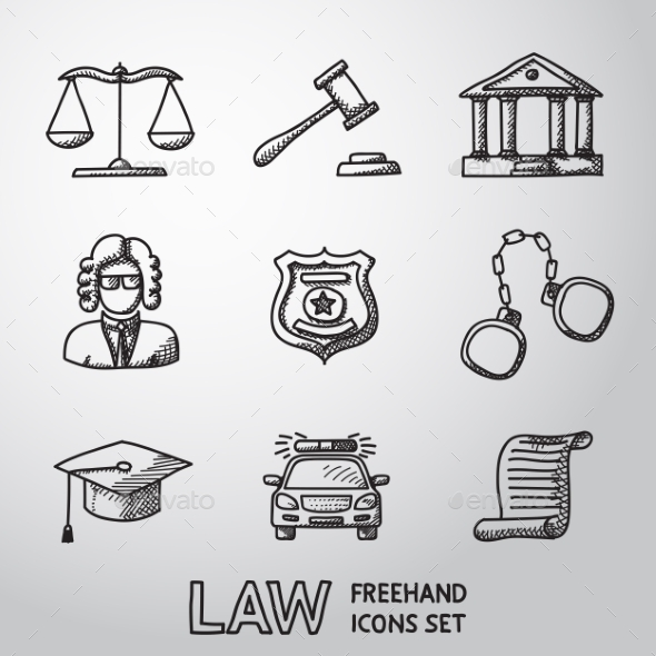 Law, Justice Freehand Icons Set. Vector - Icons