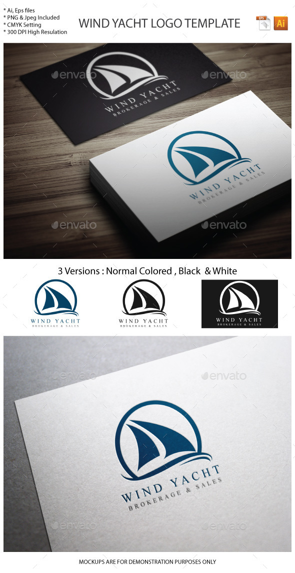 Wind Yacht Logo template
