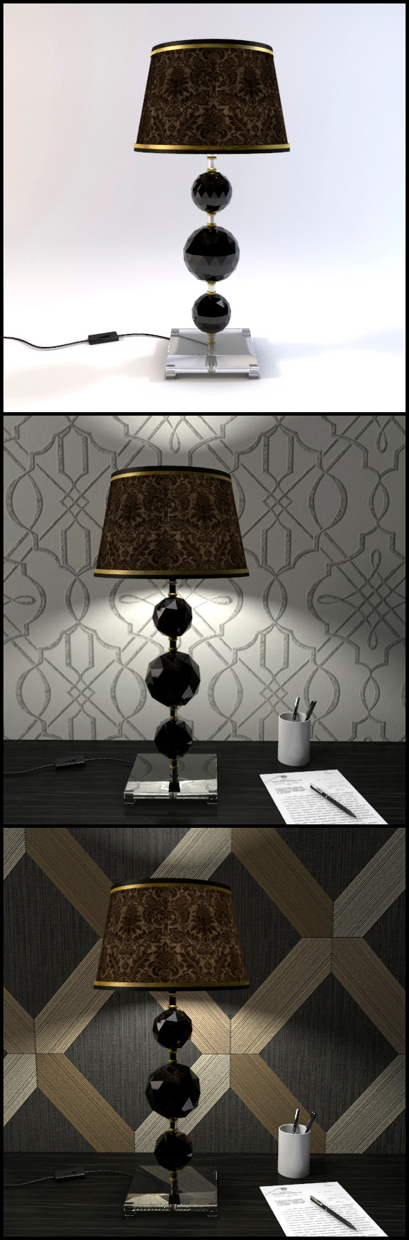 Glass Geosphere Table Lamp #1 - 3DOcean Item for Sale