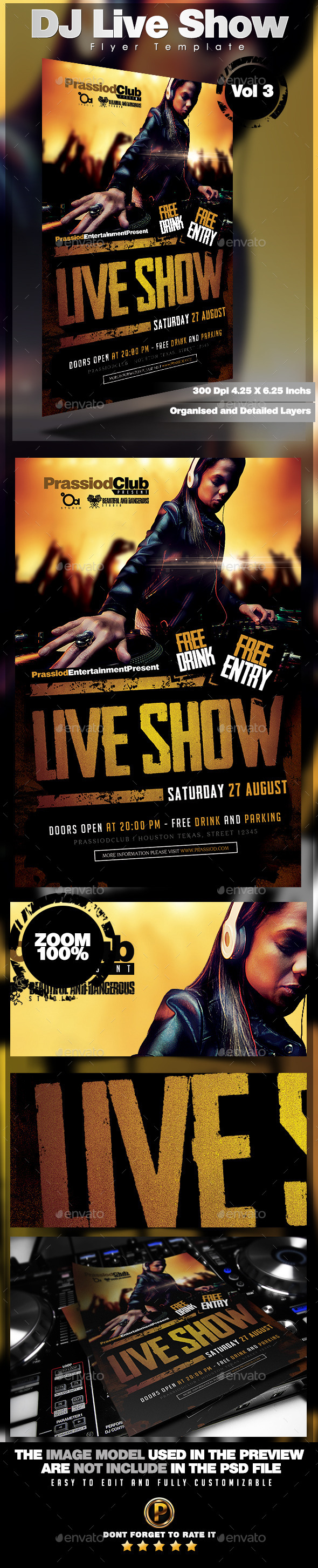 DJ Live Show Flyer Template Vol 3 - Clubs & Parties Events