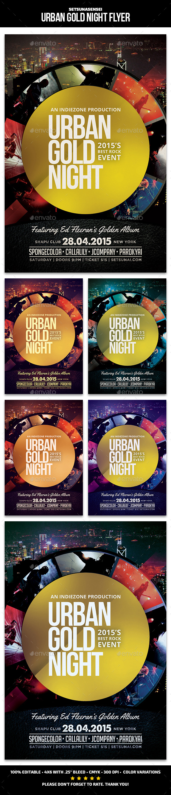 Urban Gold Night Flyer - Concerts Events