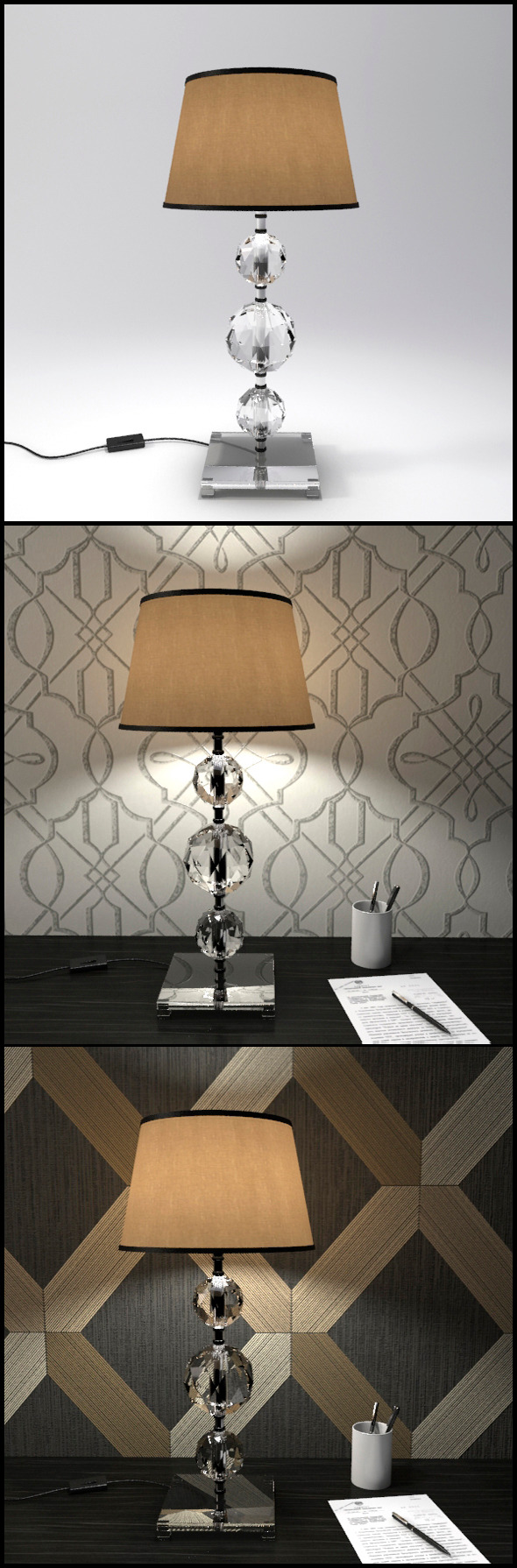 Glass Geosphere Table Lamp #5 - 3DOcean Item for Sale