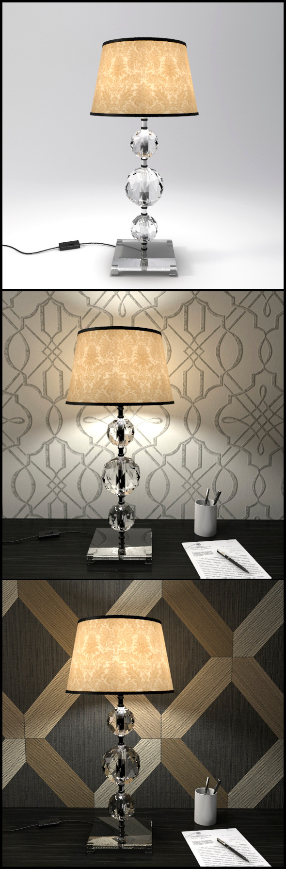 Glass Geosphere Table Lamp #6 - 3DOcean Item for Sale