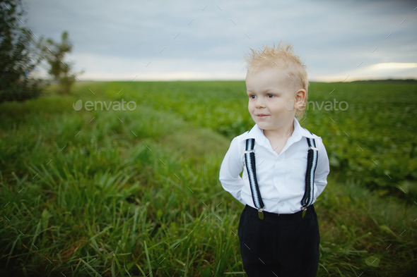 little boy in green field - Stock Photo - Images