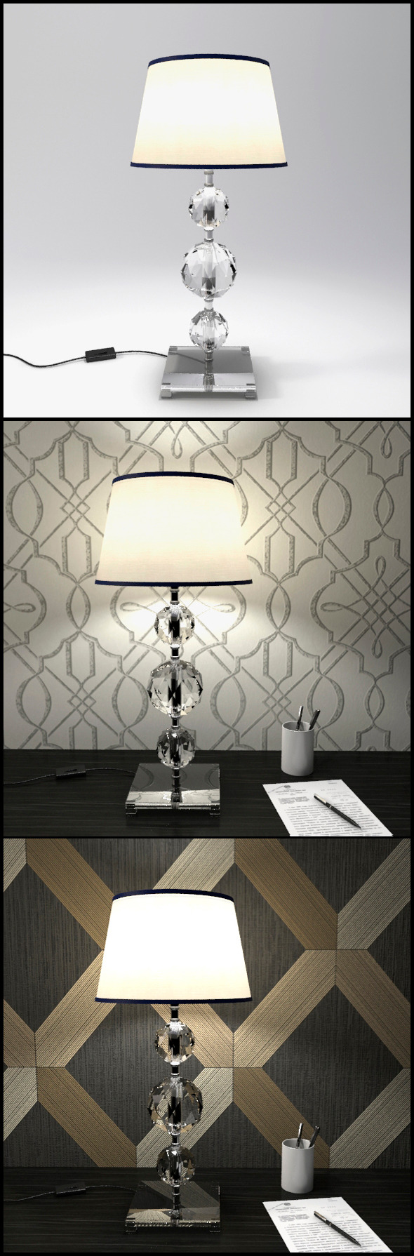Glass Geosphere Table Lamp #7 - 3DOcean Item for Sale