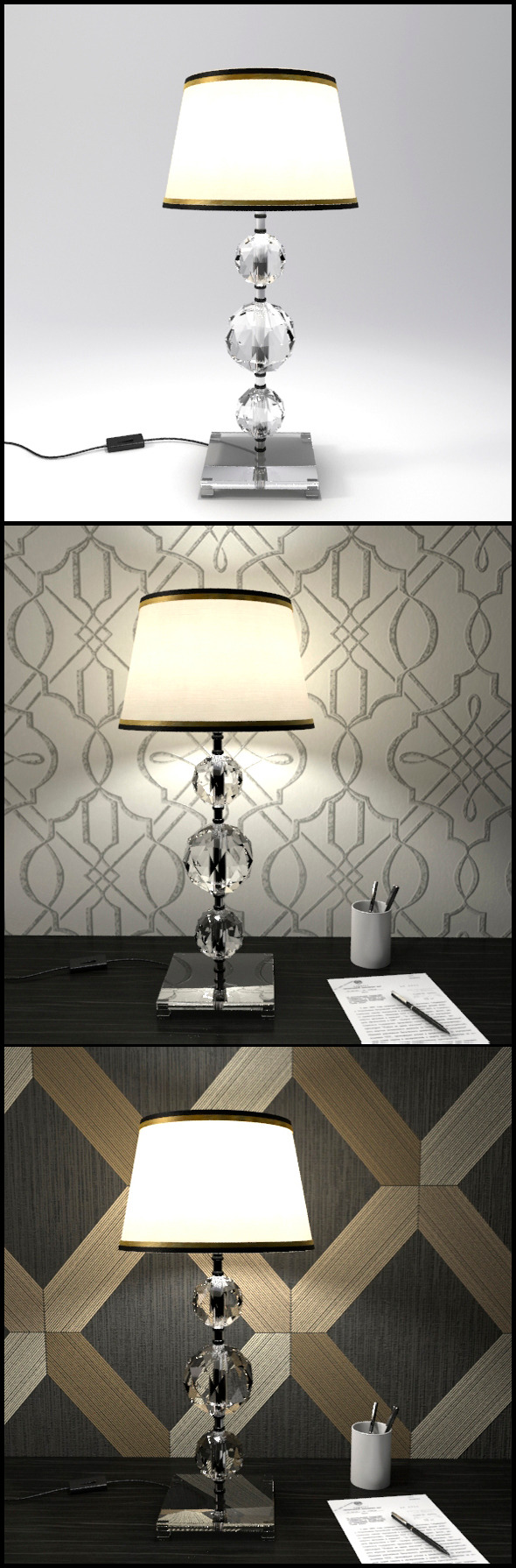 Glass Geosphere Table Lamp #8 - 3DOcean Item for Sale