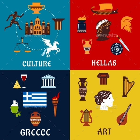 Culture, Art And History Icons Of Greece - Travel Conceptual