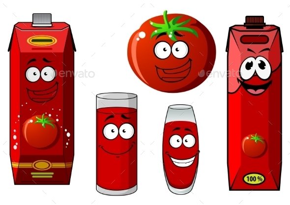 Cartoon Tomato Vegetable And Juice Packs - Food Objects
