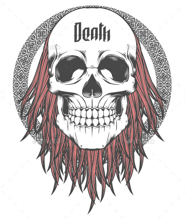 Skull with Red Hair Illustration