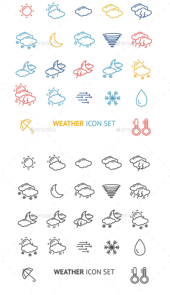 Weather Icon Outline Vector