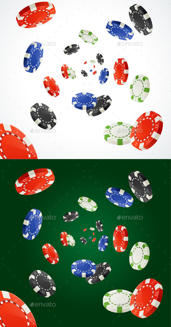 Pocker Chips Rain Winner Concept Vector - Conceptual Vectors