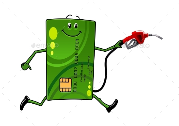 Credit Card Character With Gasoline Pump - Concepts Business