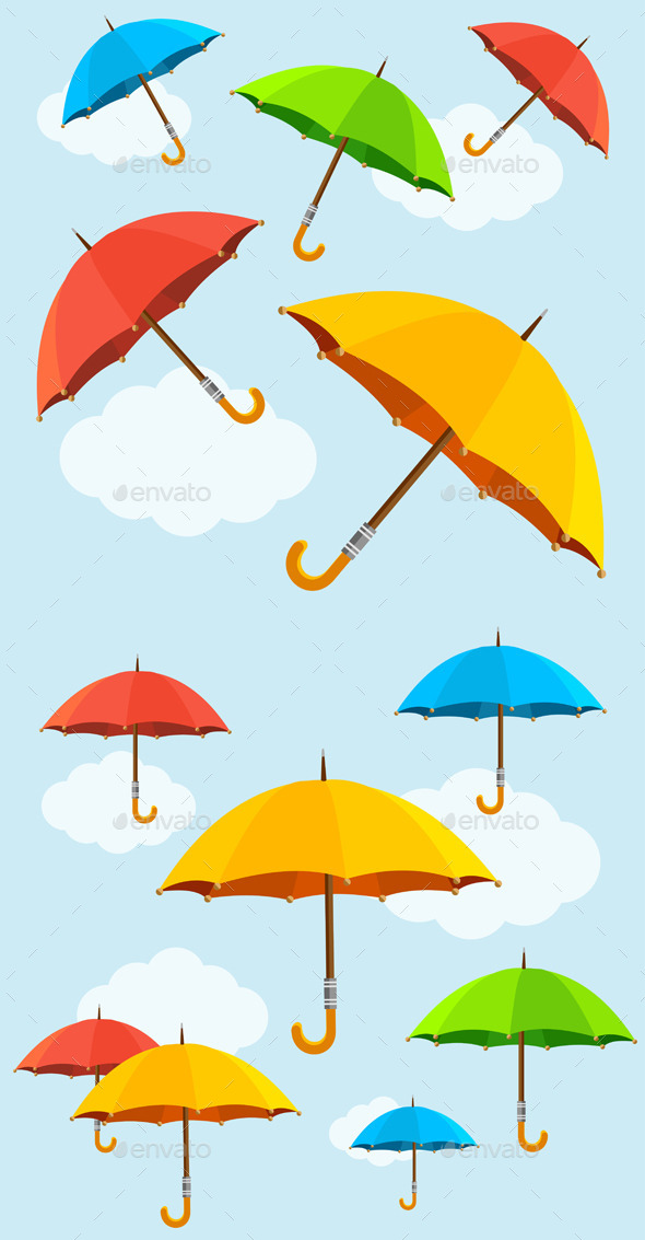 Umbrellas Fly Background. Vector. Flat. - Backgrounds Decorative
