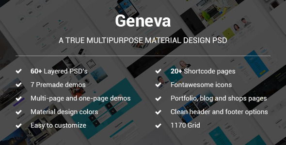 Geneva - A True Multipurpose Material Design - Creative PSD Templates