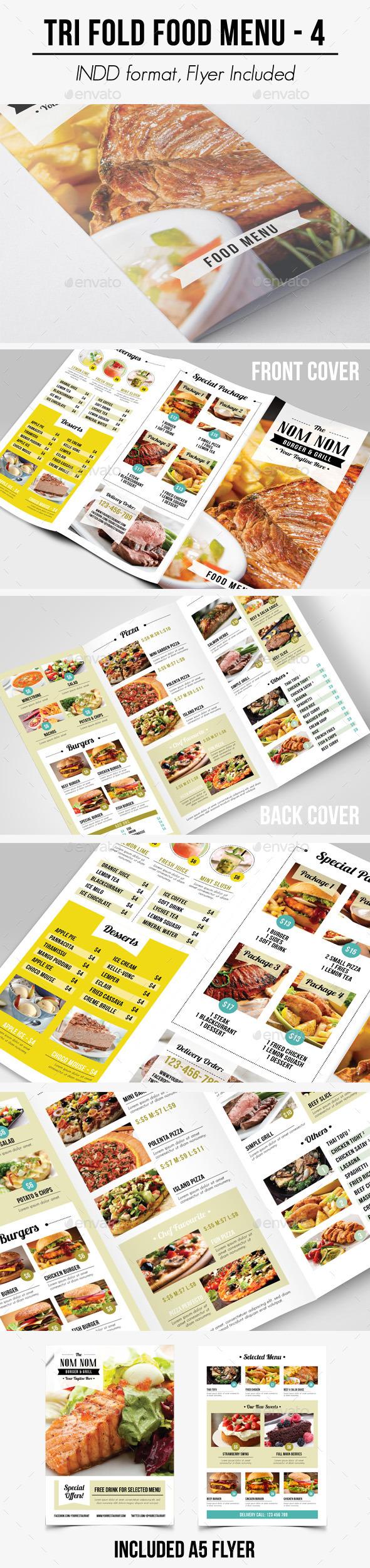 Tri Fold Food Menu - 4 - Food Menus Print Templates