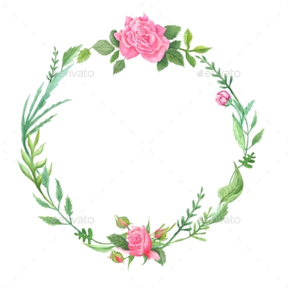 Spring Green Watercolor Wreath With Roses - Borders Decorative